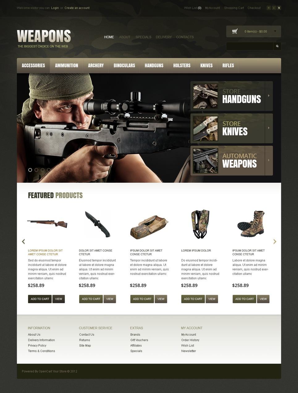 Weapons OpenCart Template New Screenshots BIG