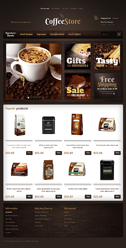Coffee store - Ultimate Magento Drink Store Theme