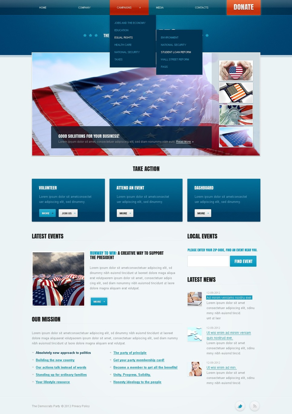 Political Party Website Template New Screenshots BIG