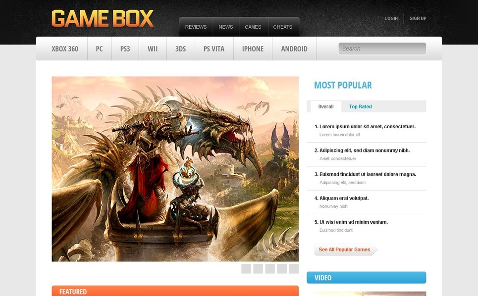 Game Portal Drupal Template New Screenshots BIG