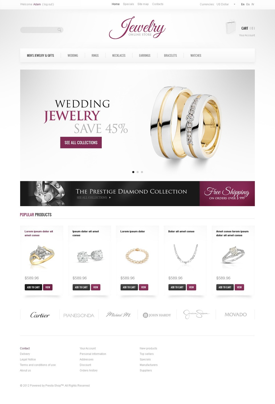 Jewelry Brand PrestaShop Theme New Screenshots BIG