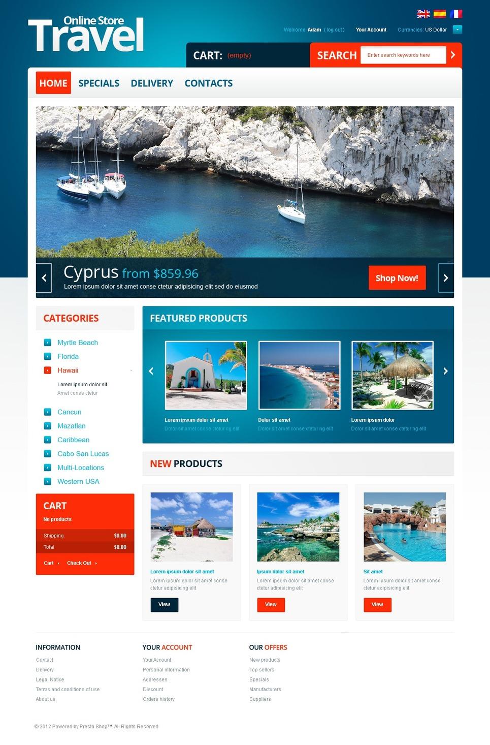 Fabulous Travel Online Store PrestaShop Theme