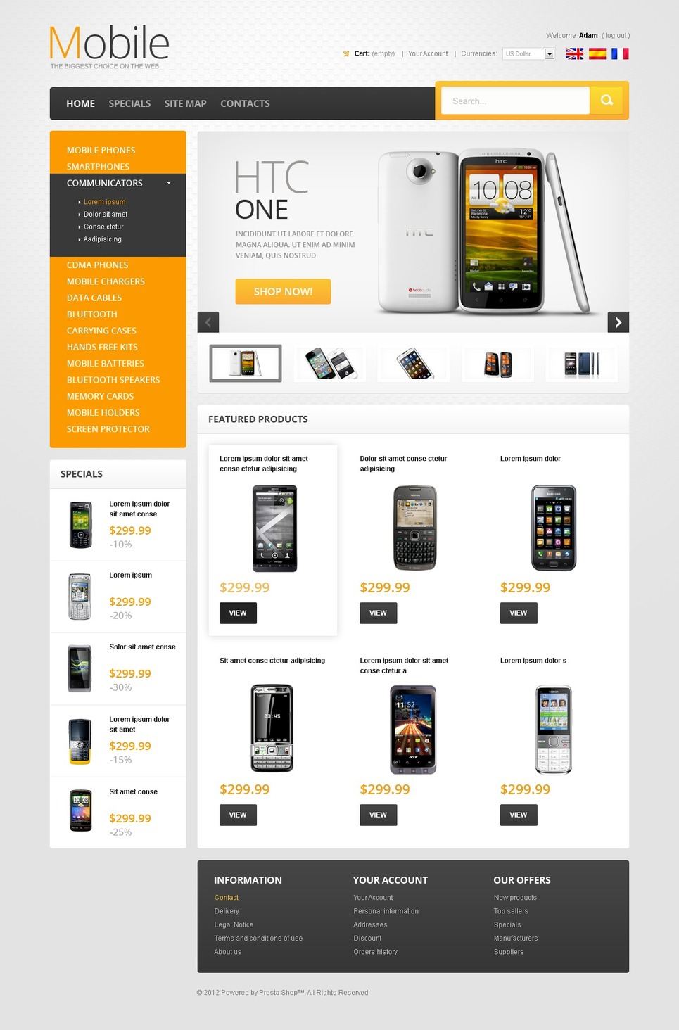 Mobile Phones PrestaShop Theme New Screenshots BIG