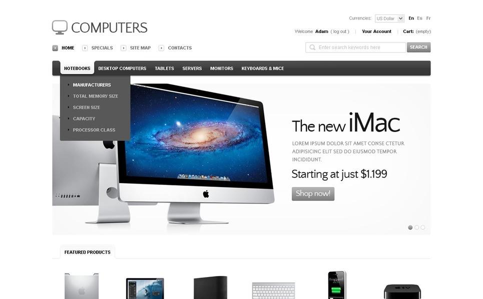 High-End Computers OsCommerce Template New Screenshots BIG