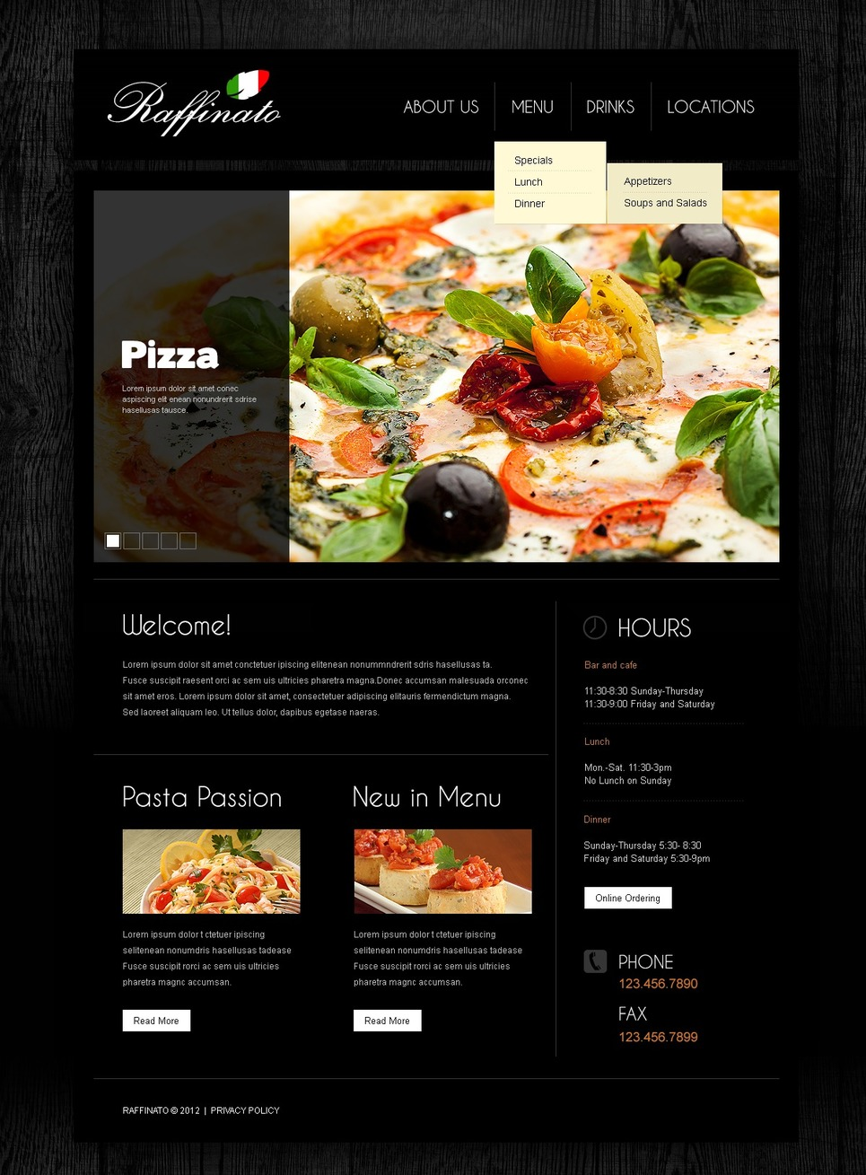 Italian restaurant responsive website template 39458 for Restaurant layout templates
