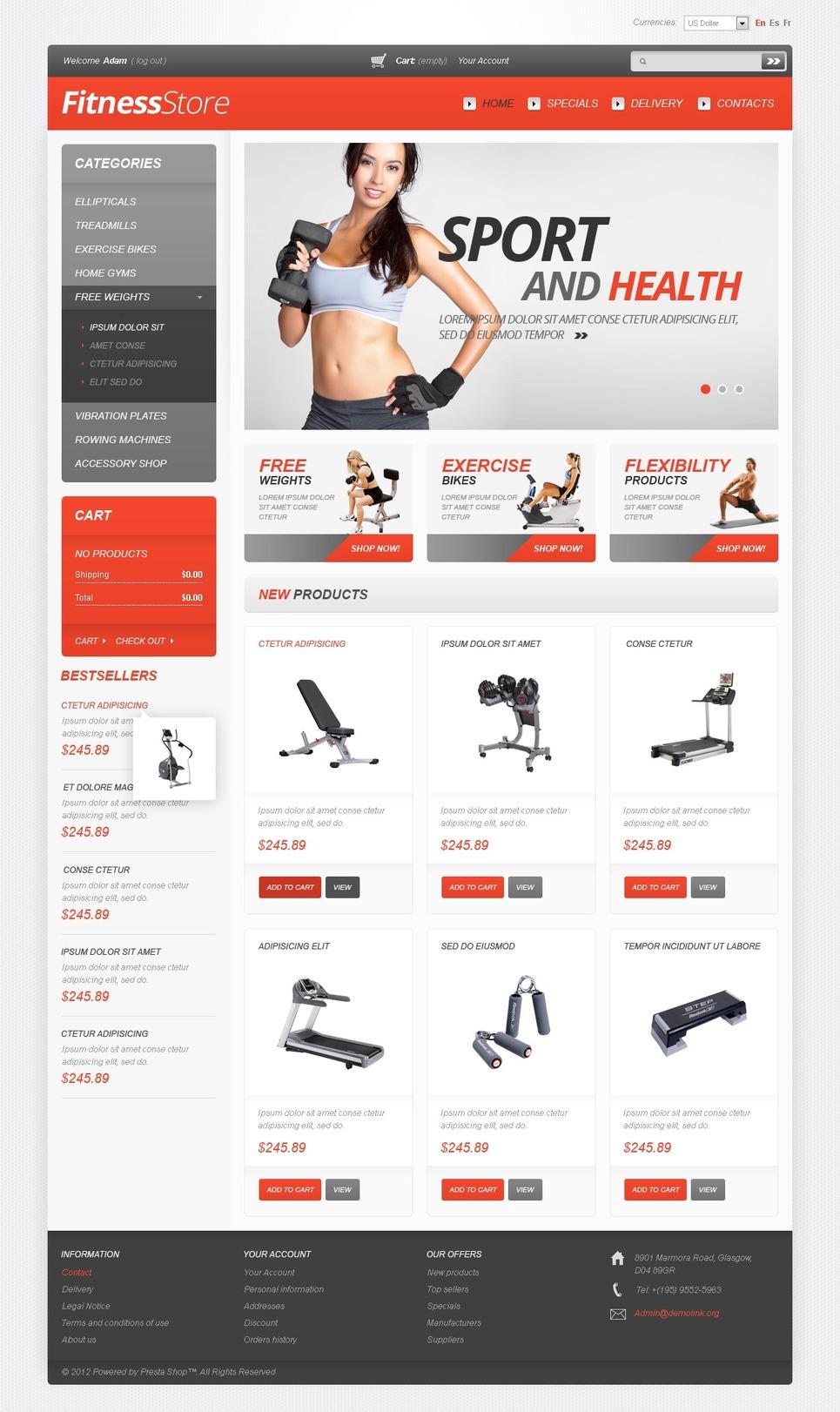 Fitness PrestaShop Theme New Screenshots BIG
