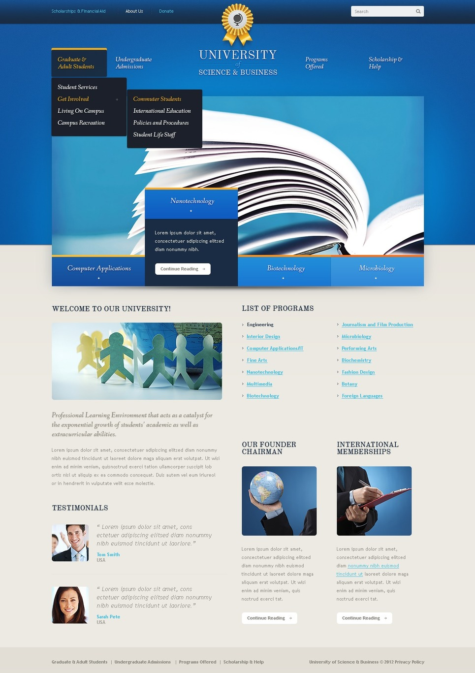 University Joomla Template New Screenshots BIG