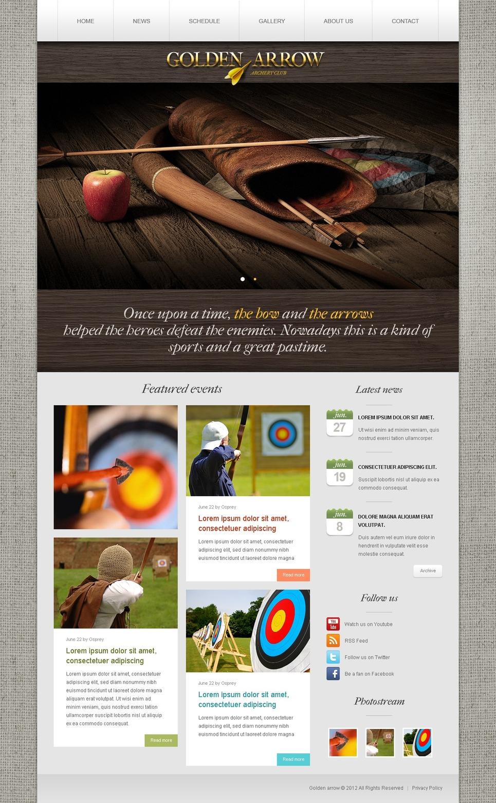 Archery Website Template New Screenshots BIG