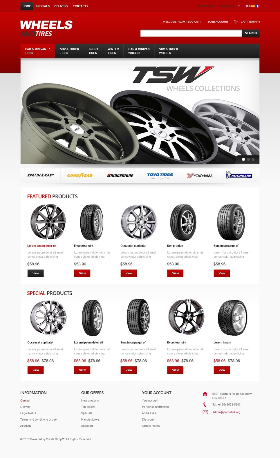 Perfect Wheels PrestaShop Theme New Screenshots BIG