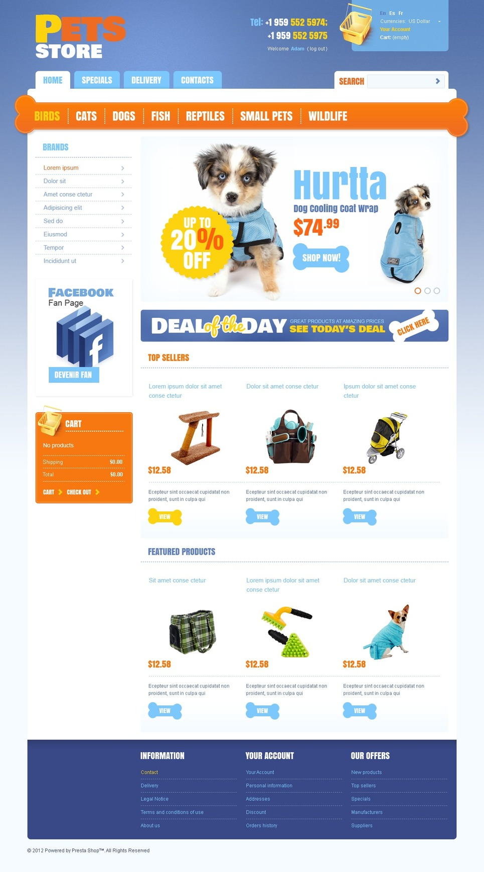 Pets' Store PrestaShop Theme New Screenshots BIG