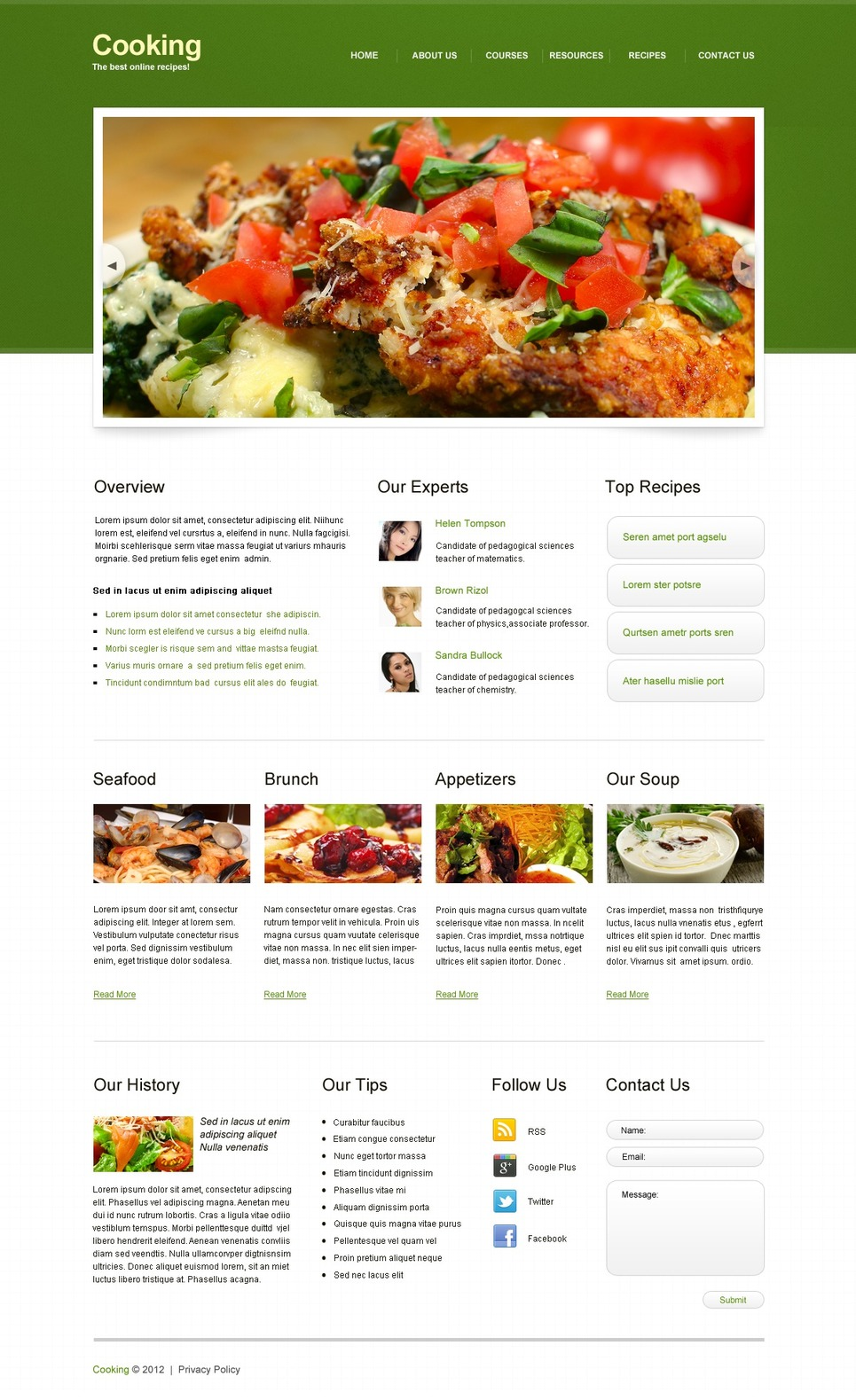 Cooking Website Template New Screenshots BIG