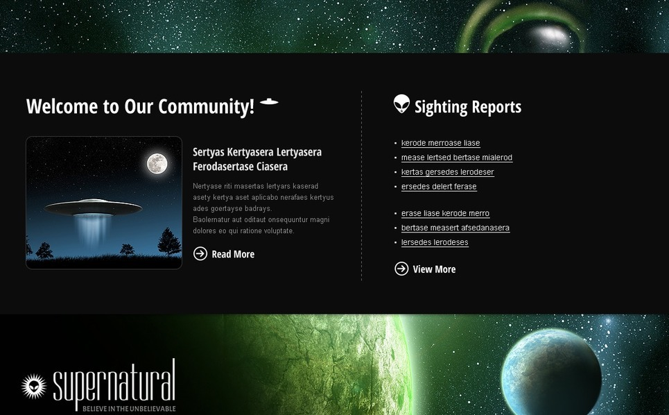 UFO Website Template New Screenshots BIG