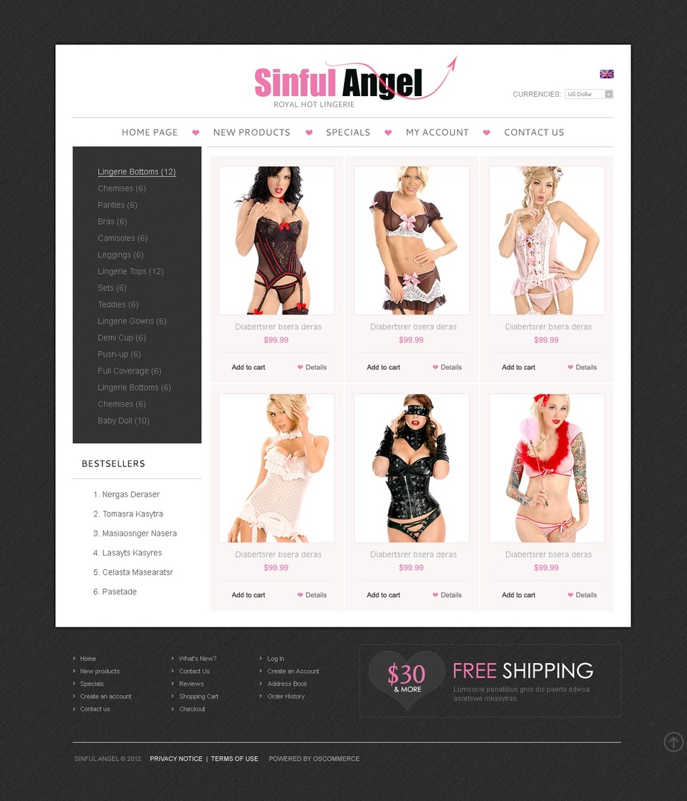 Exclusive Lingerie OsCommerce Template New Screenshots BIG