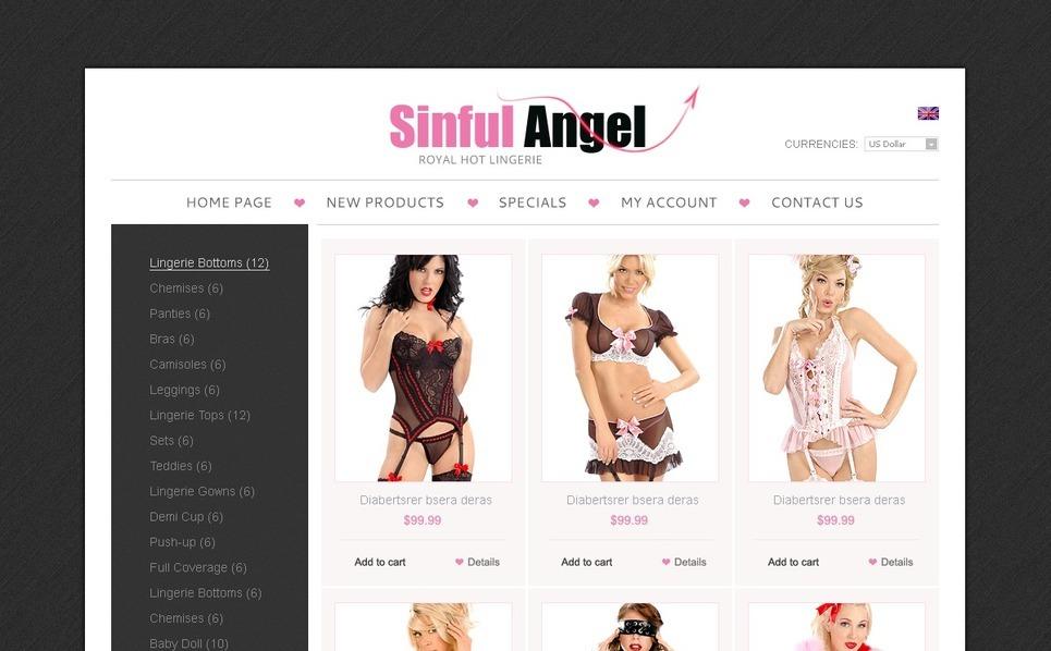 Exclusive Lingerie OsCommerce Template New Screenshots BIG