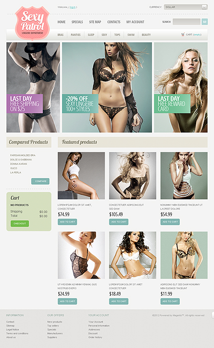 Sexy patrol - Best Magento Lingerie Store Theme