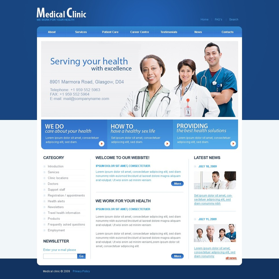 Medical Facebook Flash CMS Template New Screenshots BIG