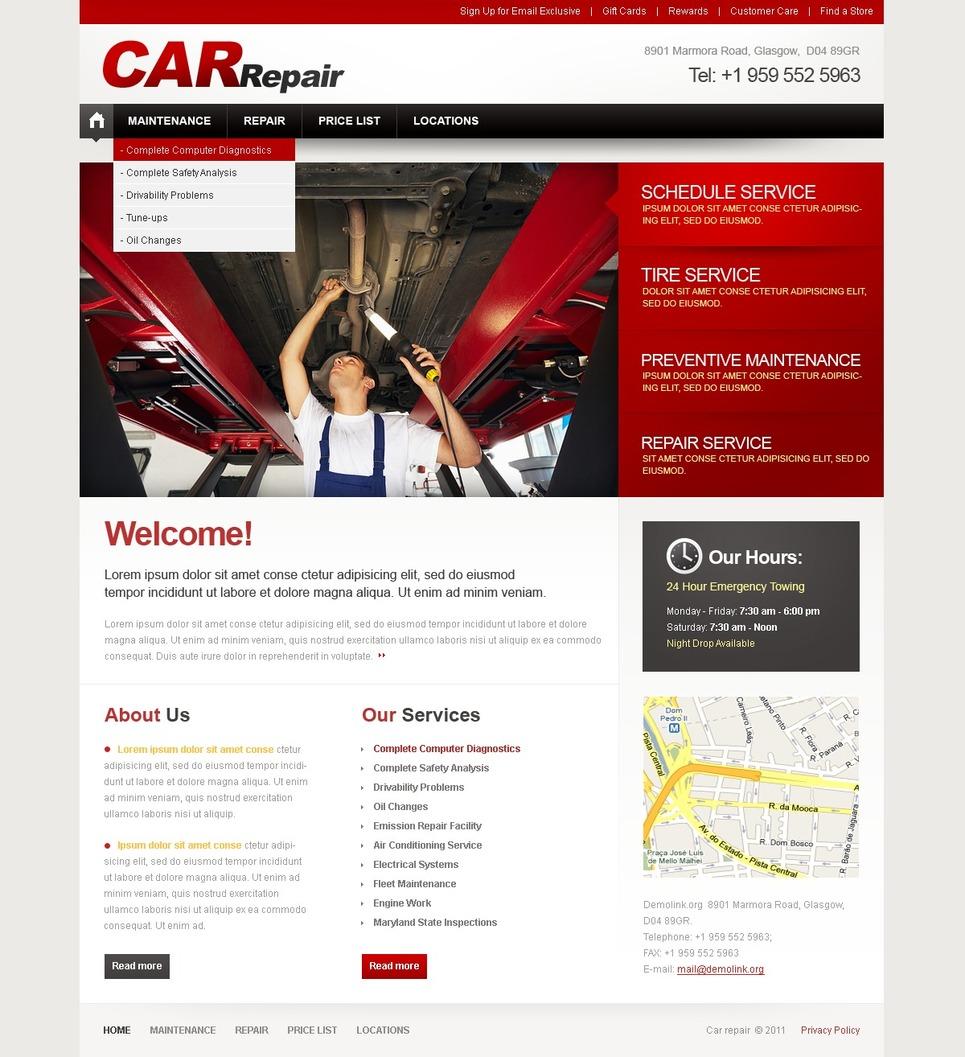 Car Repair Facebook Flash CMS Template New Screenshots BIG