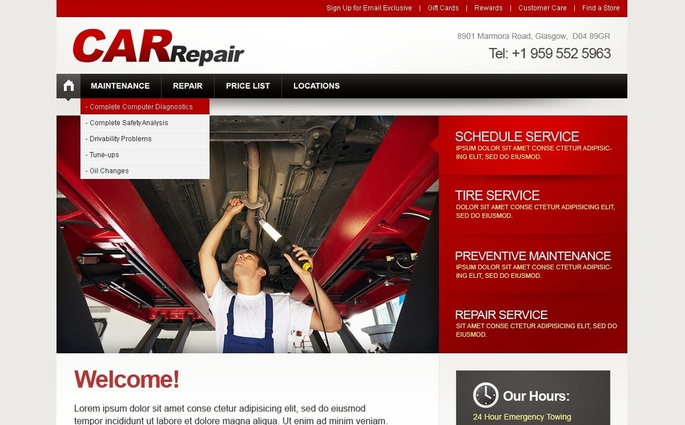 Car Repair Facebook Flash CMS Template New Screenshots BIG