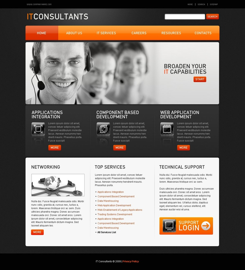 Communications Flash CMS Template New Screenshots BIG