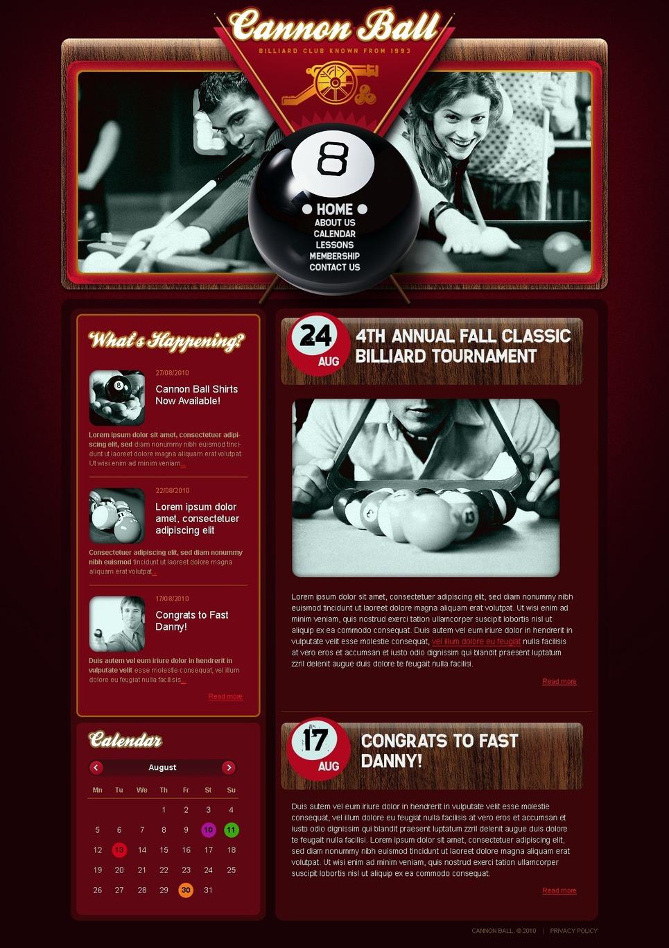 Billiards Flash CMS Template New Screenshots BIG
