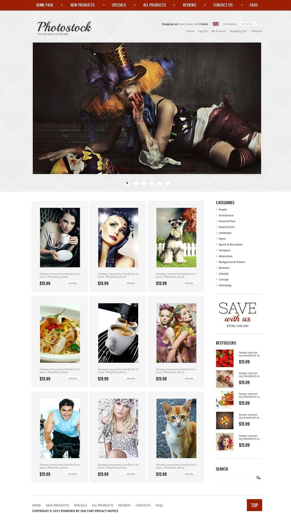 Photo Stock ZenCart Template New Screenshots BIG