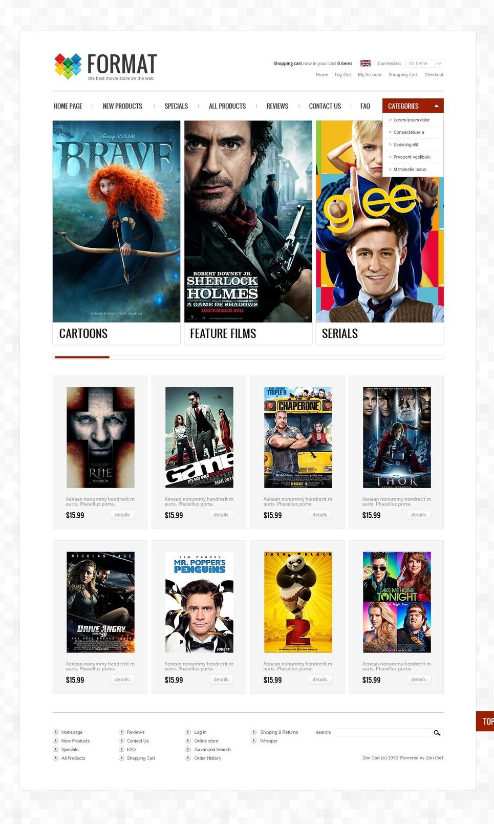 Movie Store ZenCart Template New Screenshots BIG