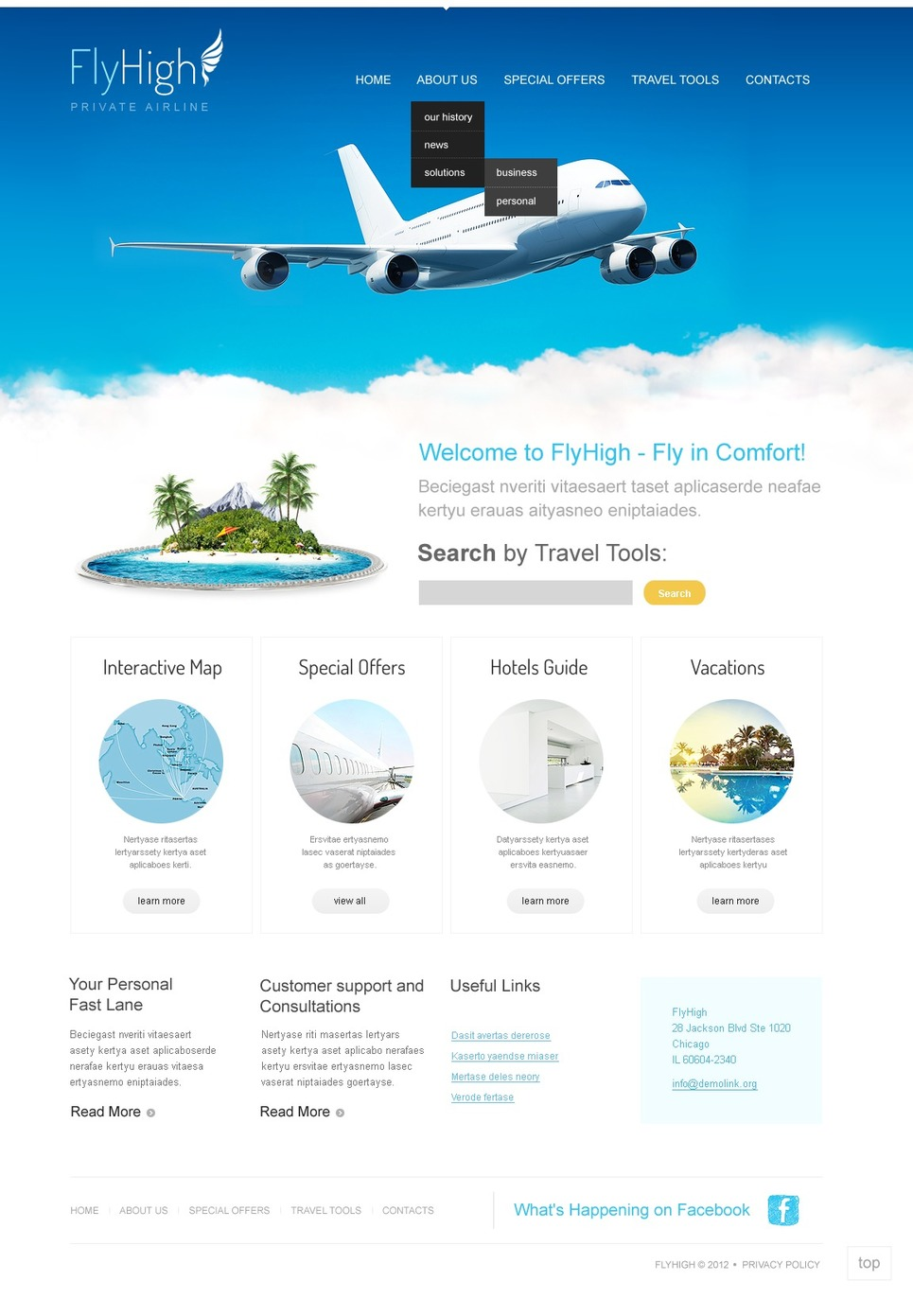 Private Airline WordPress Theme New Screenshots BIG