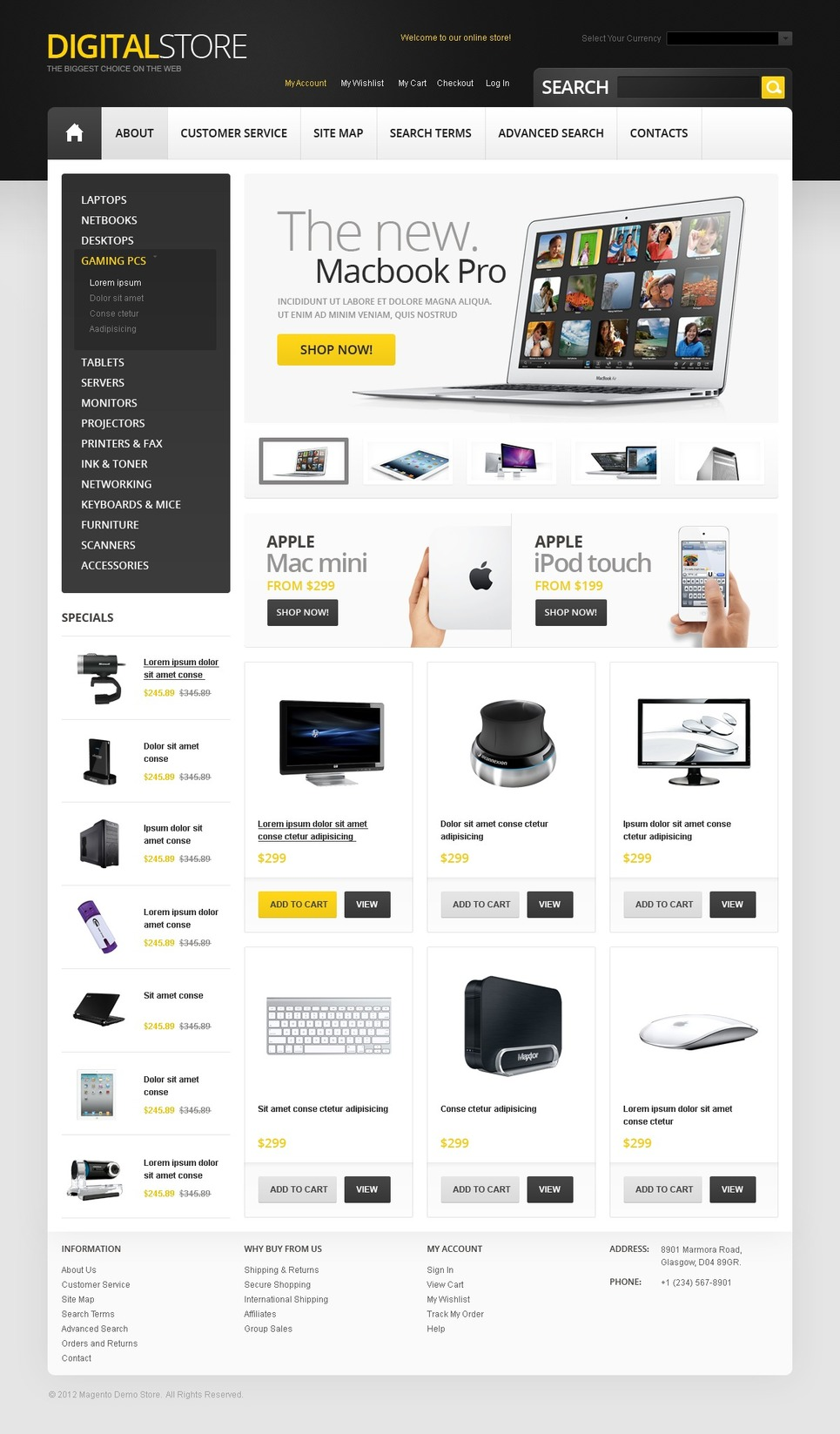 Digital Store Magento Theme New Screenshots BIG