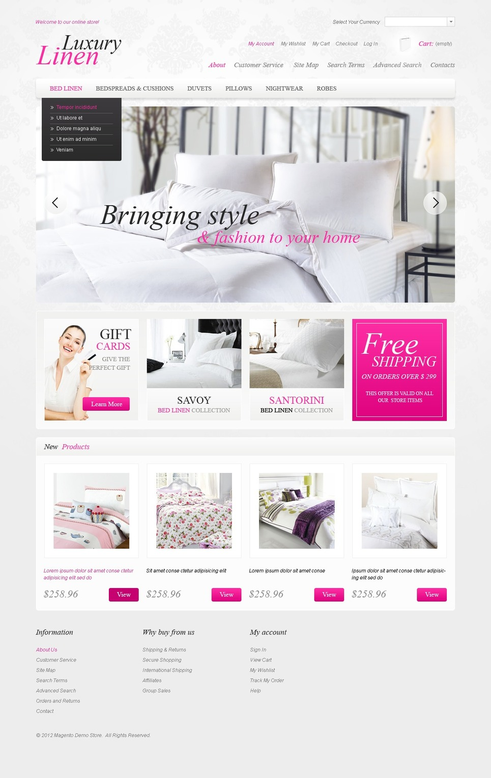Linen for the Sweetest Dreams Magento Theme New Screenshots BIG