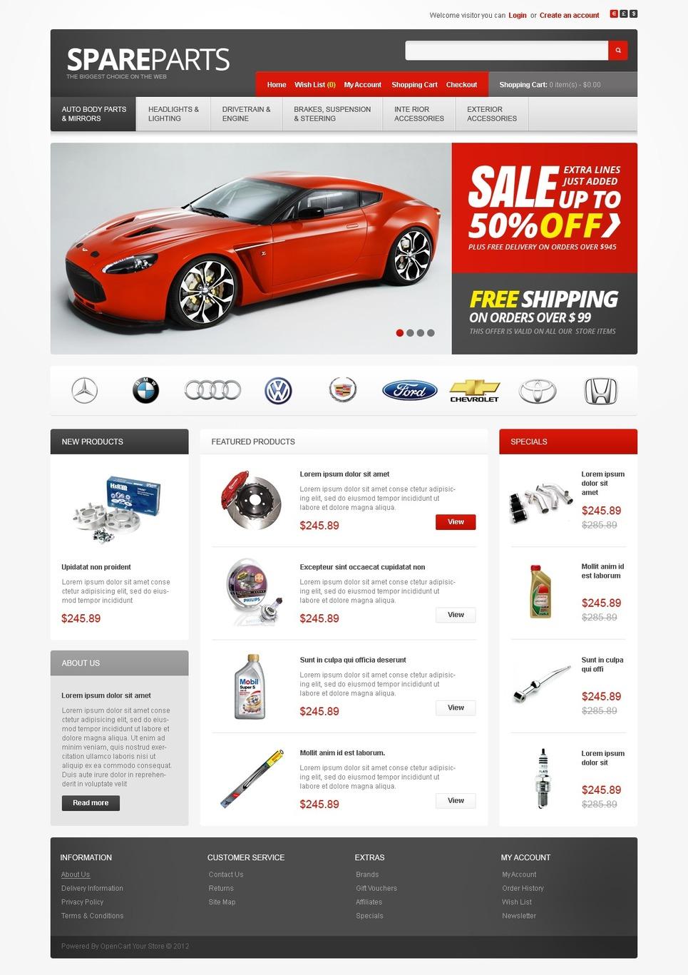 Auto Parts OpenCart Template New Screenshots BIG