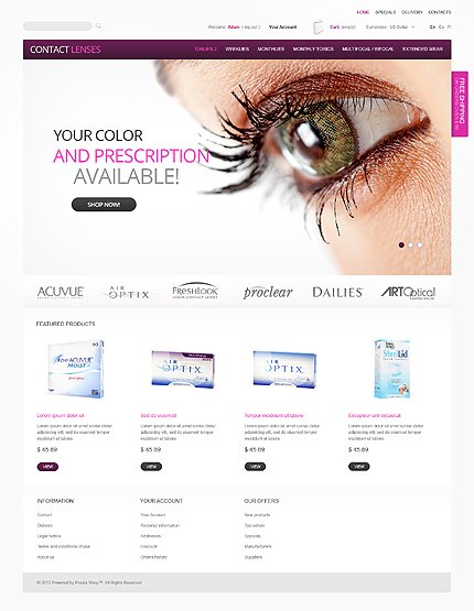 Contact lenses - Primary Contact Lenses PrestaShop Theme