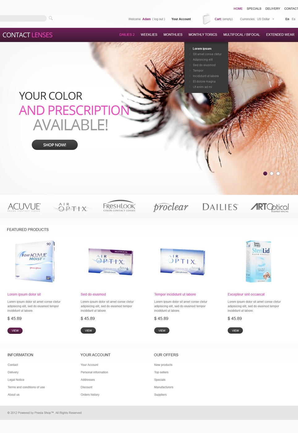 Contact Lenses PrestaShop Theme New Screenshots BIG