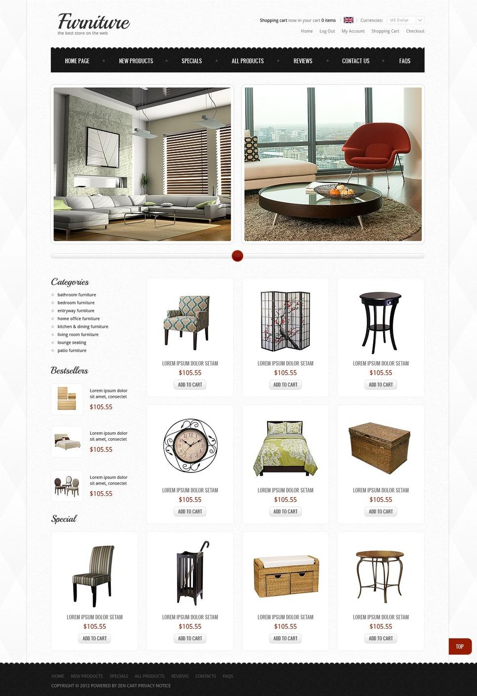 Furniture Store ZenCart Template New Screenshots BIG