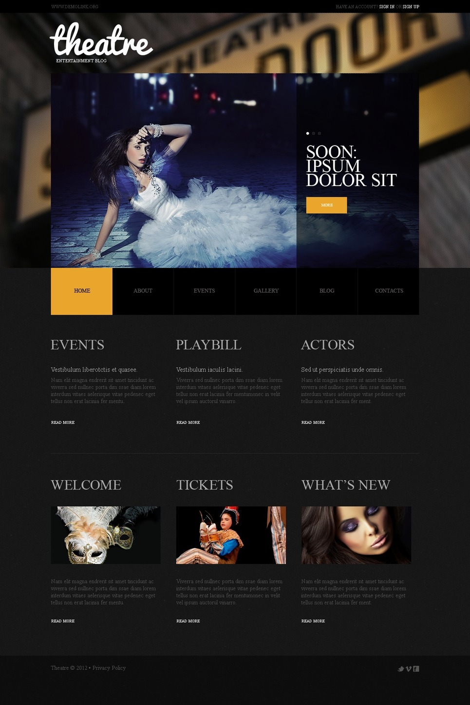 Theater WordPress Theme New Screenshots BIG