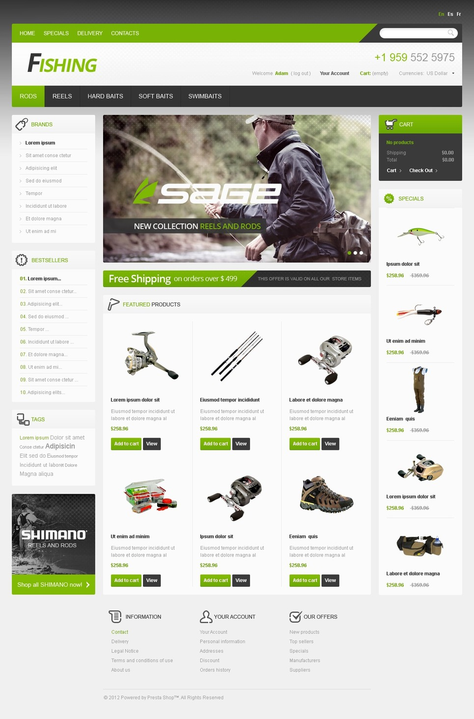 Fishing Store PrestaShop Theme New Screenshots BIG
