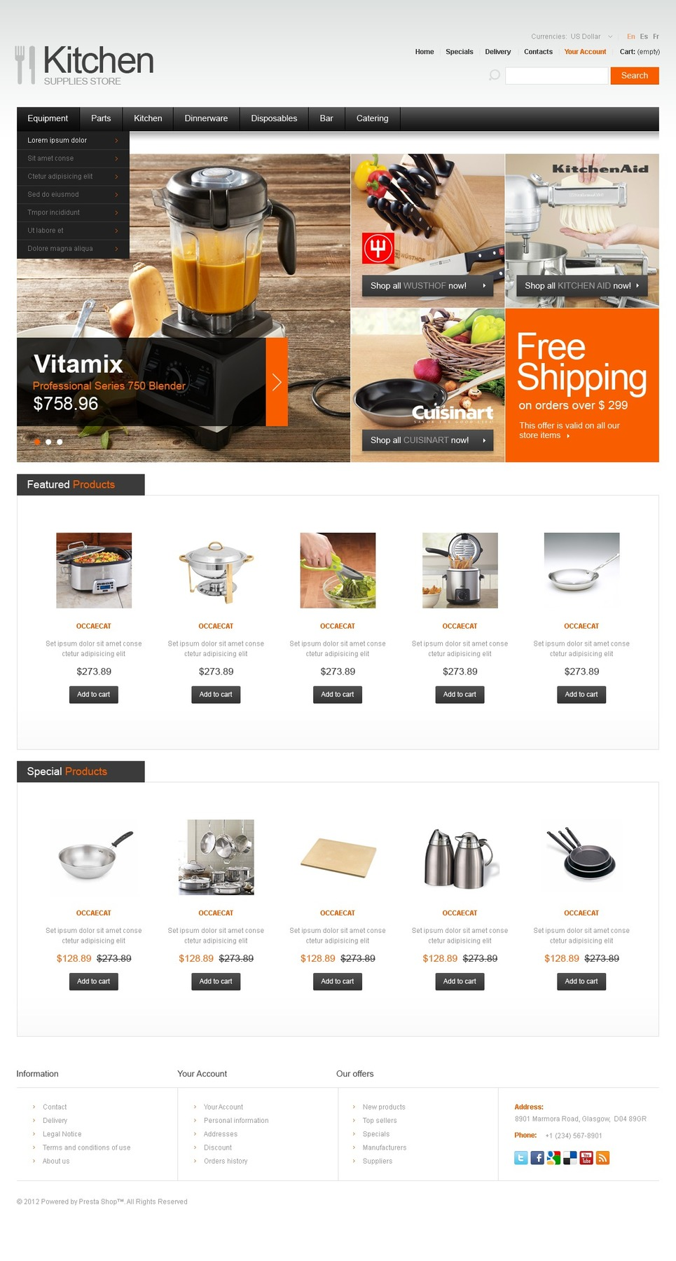 Kitchen Supplies PrestaShop Theme New Screenshots BIG