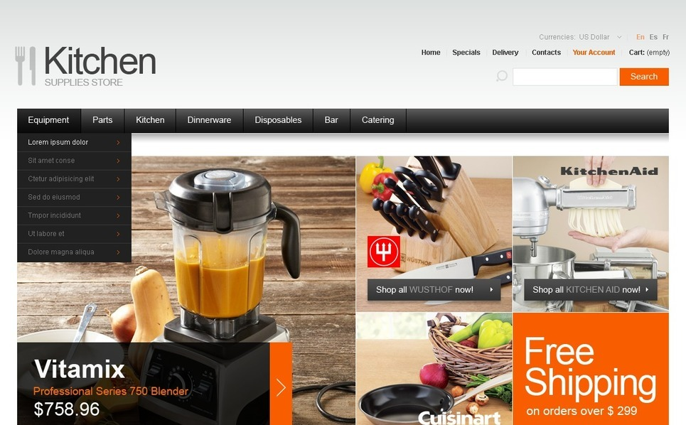Kitchen Supplies PrestaShop Theme New Screenshots BIG