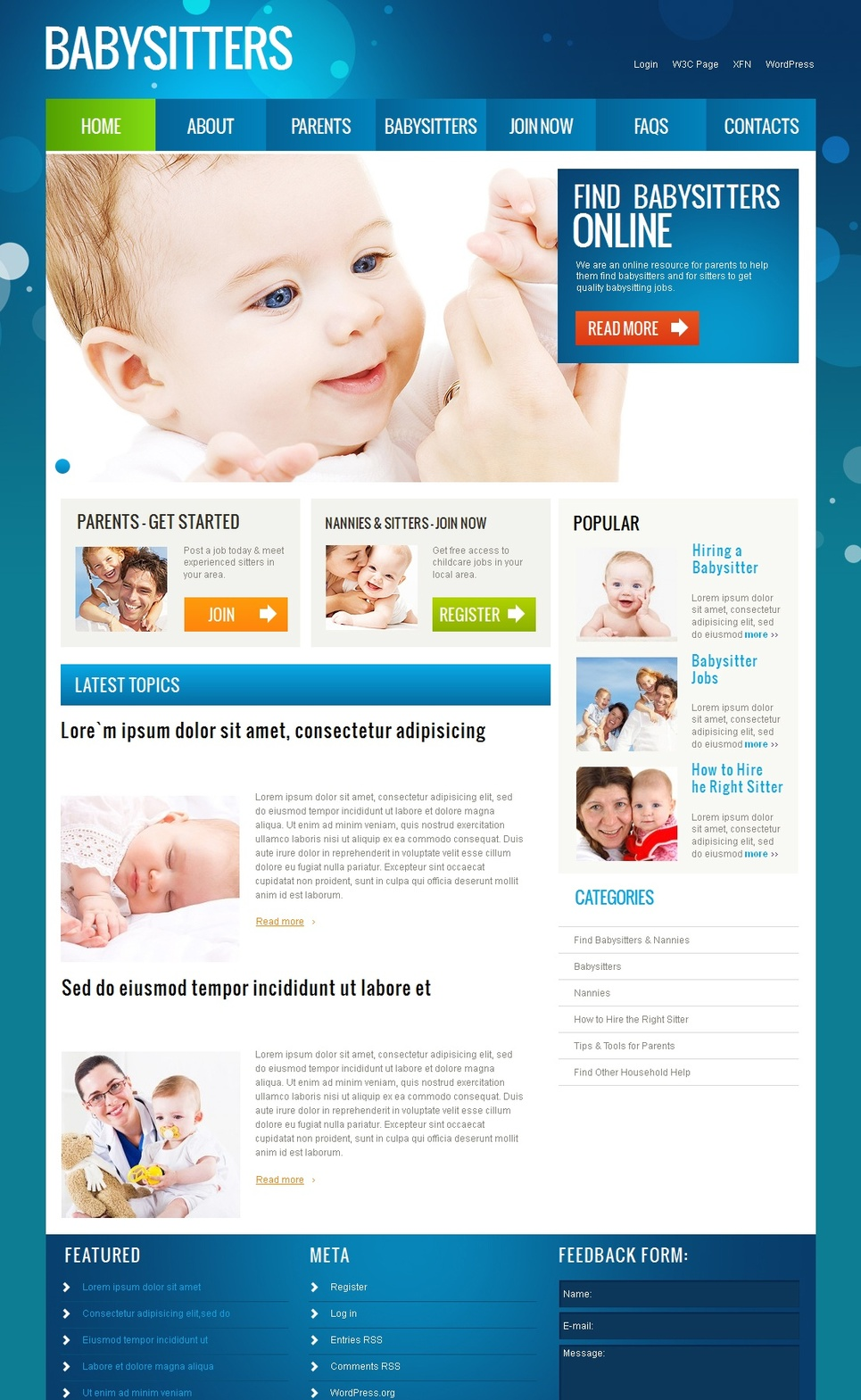 Childcare Website Template with Blue Design - image