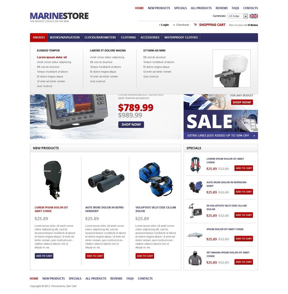 Marine Equipment OsCommerce Template New Screenshots BIG