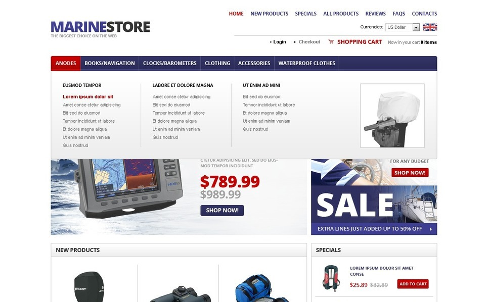 Marine Equipment OsCommerce Template New Screenshots BIG