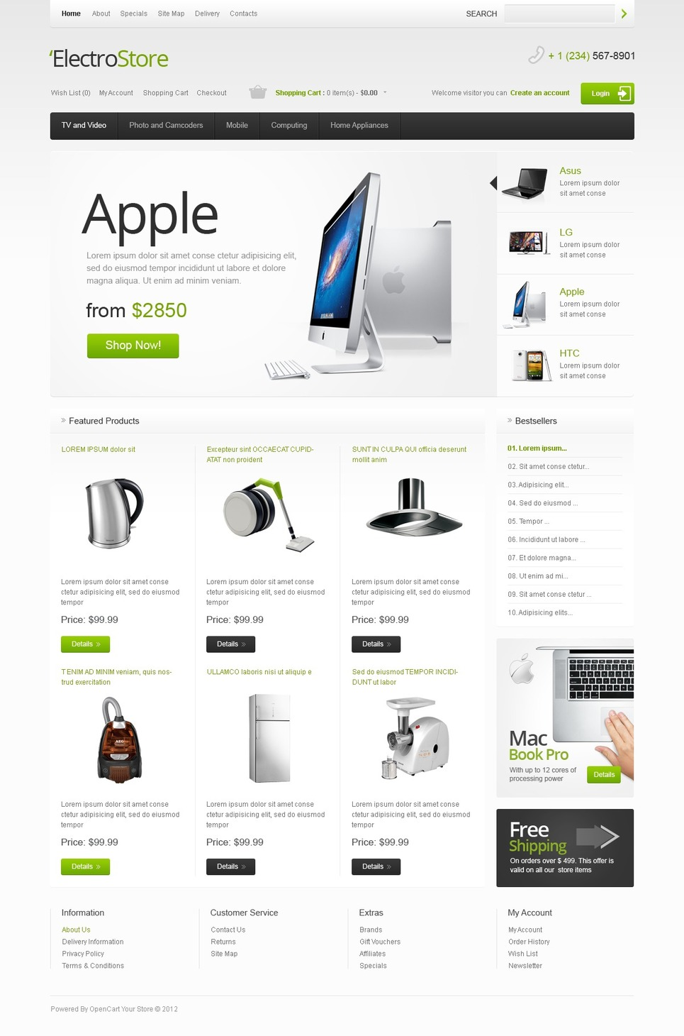 electrical appliances opencart template web design templates website templates download. Black Bedroom Furniture Sets. Home Design Ideas
