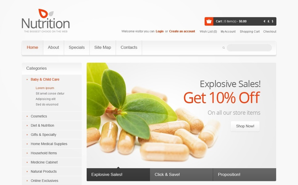 Healthy Nutrition OpenCart Template New Screenshots BIG
