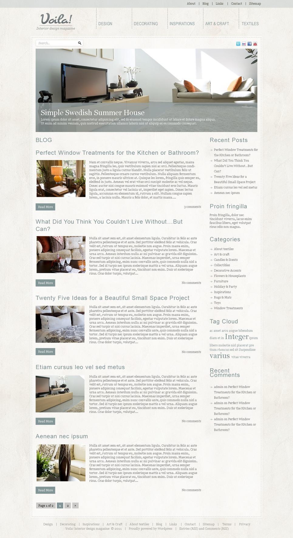 Interior Design Wordpress Theme 39829