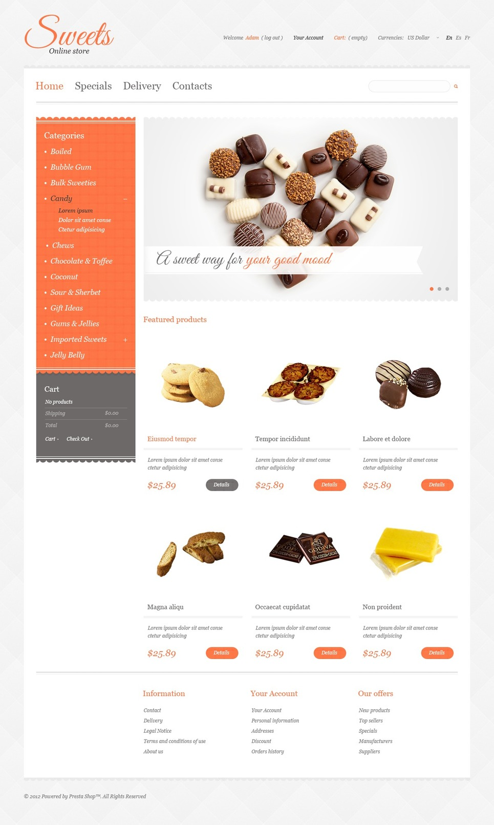Sweets Store PrestaShop Theme New Screenshots BIG