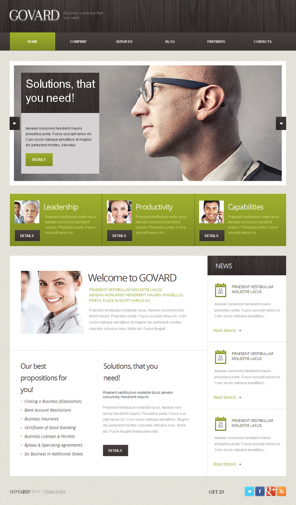 Business Website Template Done in Gray Tones with Some Green Elements - image