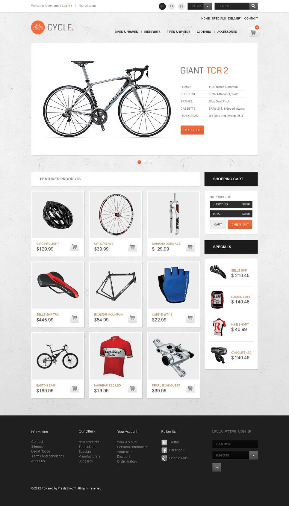 Purposeful Sport Bikes PrestaShop Theme