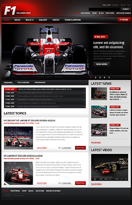 Internet world 2012 f1 formula race news website template for News site template free download