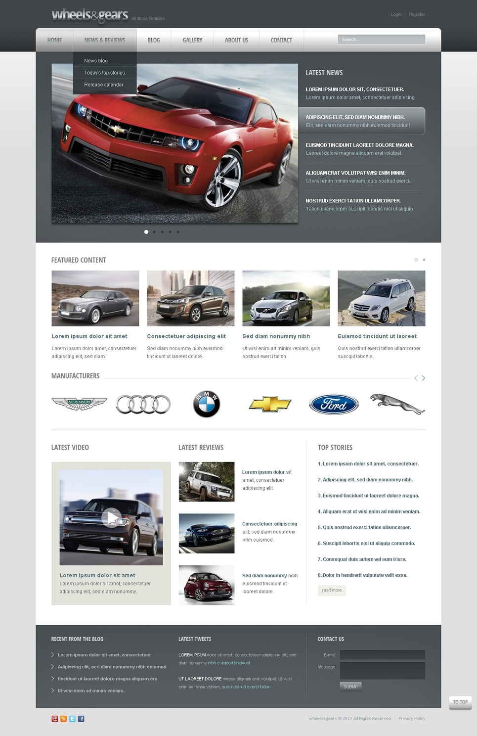 Wheels & Tires Drupal Template New Screenshots BIG