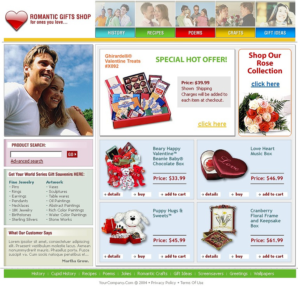 gifts store website template web design templates website templates