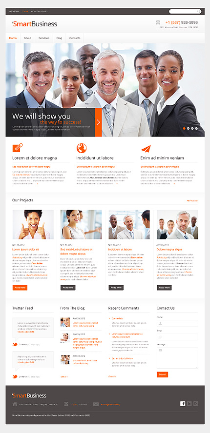 View Live Demo for Smart business – WordPress Responsive Theme for Corporate and Business Websites
